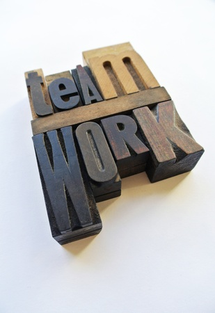 Woodtype letters forming the word teamwork photo