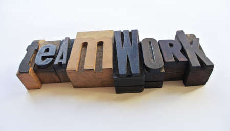 woodtype: Woodtype letters showing teamwork word