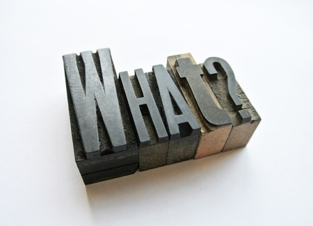 woodtype: Typography setting a short question Stock Photo