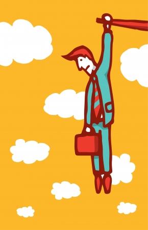 Businessman hanging on a ledge Illustration