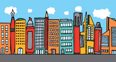 writing instruments: Art city with buildings and writing instruments Illustration