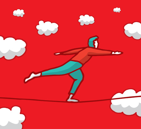 Man carefully balancing on a string sky high Vector
