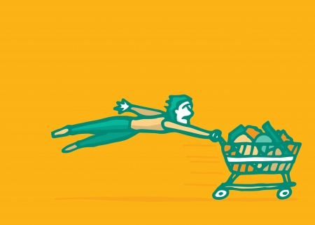 costumer: Costumer being pulled by fast shopping kart Illustration