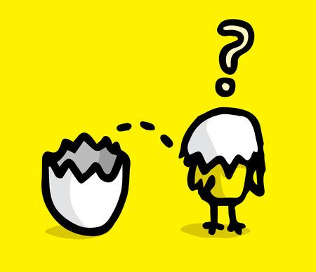 Disoriented small new born chicken  Illustration