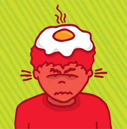 burning man: Angry guy cooking an egg on his head
