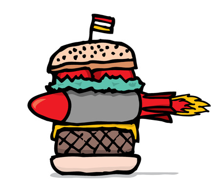 Huge junk food hamburger with missile Stock Vector - 24123731