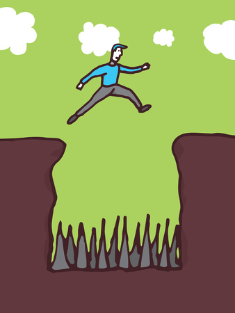 Guy jumping over dangerous pit Stock Vector - 24123734