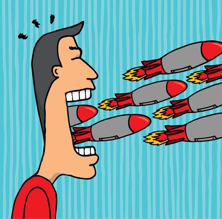 Uomo furioso lancio di razzi dalla bocca Archivio Fotografico - 24123739