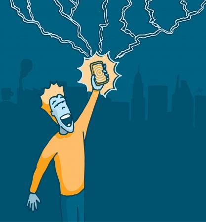 Hombre que sostiene un teléfono celular alcanzado por un rayo Ilustración de vector
