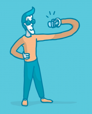 Guy stretching to take a self picture Stock Illustratie
