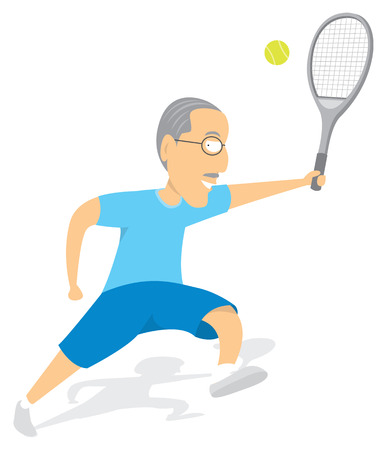 Active senior man playing tennis Vector