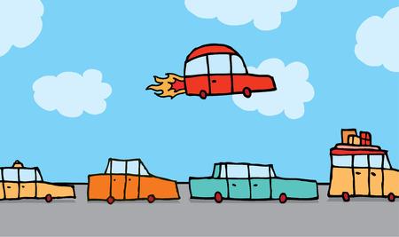 다른 육상 차량 위에 지나가는 비행 차의 만화 그림