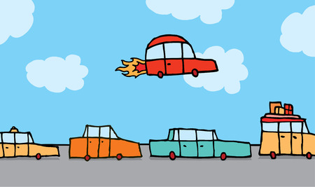 Cartoon illustration of a flying car passing above other land vehicles Illustration