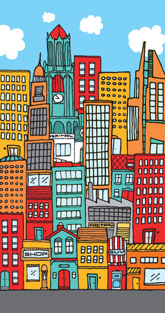 Illustration of a city with lots of colorful buildings