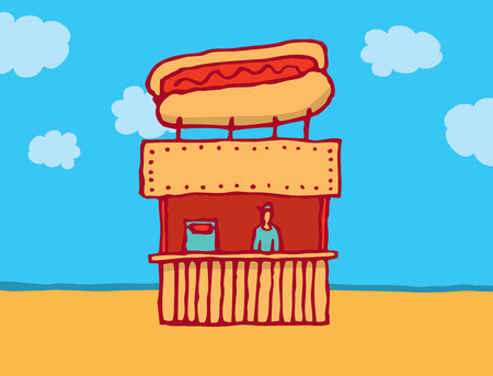 Cartoon illustration of a hot dog vendor Illustration