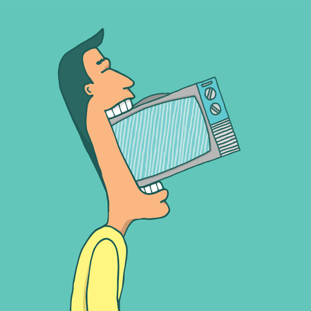 Cartoon illustration of an enthusiastic television addict eating a tv set Vector