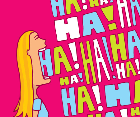 Cartoon blond woman laughing in lively colors
