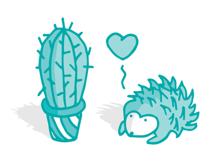 Cute hedgehog in love with a cactus Vector
