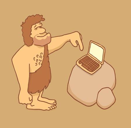 Cartoon illustration of a caveman touching a laptop keyboard Illustration