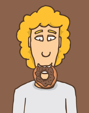 Cartoon illustration of a hungry men eating sweet chocolate donut Vector