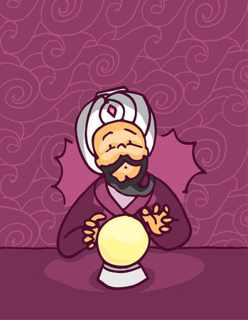 fortune teller: Fortune teller sees the future in a glowing crystal magic ball