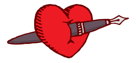 Cartoon illustration of a love heart crossed by a fountain pen Vector