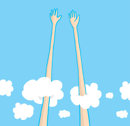 Cartoon illustration of long arms and hands giving a really tall high five Vector