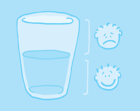 Cartoon illustration of two people looking at the glass half full and half empty Ilustração