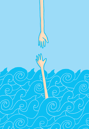 grabbing hand: Cartoon illustration of a hand reaching for help at the sea