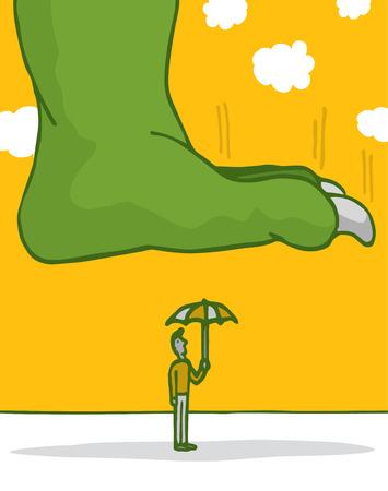 Cartoon illustration of a man with an umbrella under a huge monster feet Stock Vector - 27290626