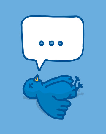 twit: Cartoon illustration of a blue bird lying in the ground with a blank speech bubble