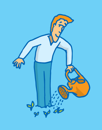 self improvement: Cartoon illustration of a man showing showing self improvement