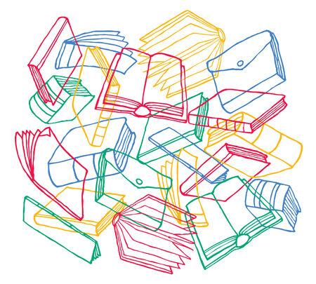 publication: Cartoon illustration of colorful diverse book publication  Illustration