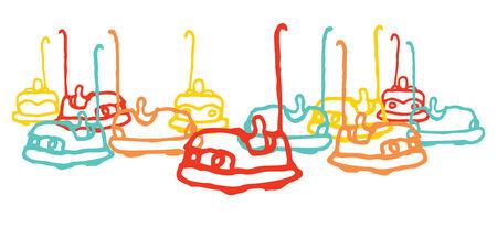 Cartoon illustration of carnival fun bumping cars Vector