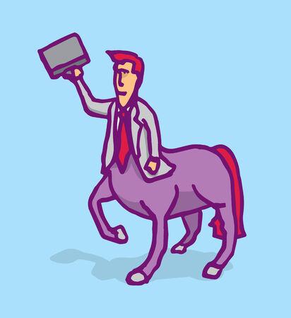 centaur: Cartoon illustration of a businessman centaur holding a portfolio