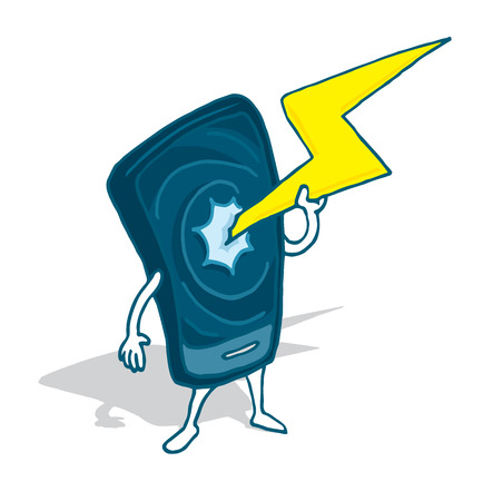 Cartoon illustration of a cell phone charging or draining too much energy