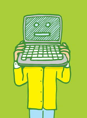 operating system: Cartoon illustration of a man holding a laptop with a computer face on it