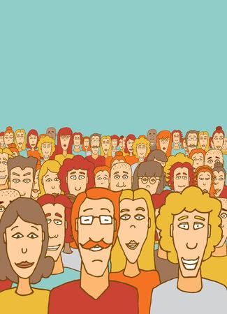 medium group of people: Cartoon illustration of a large crowd community