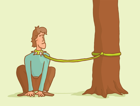 break up: Cartoon illustration of a man tied to a tree like a dog