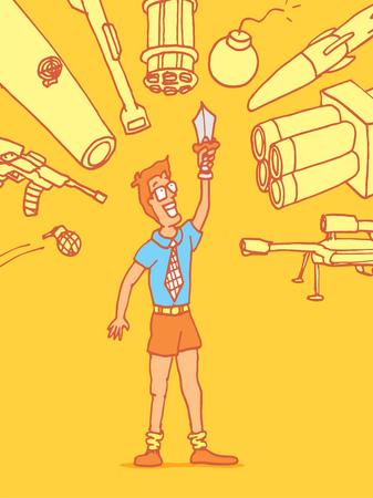 newbie: Cartoon illustration of a vulnerable novice man under attack Illustration