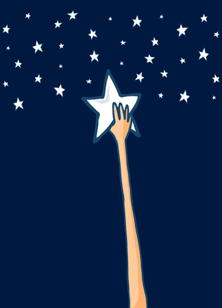 Cartoon illustration of long arm reaching for his dreams and grabbing a shining star