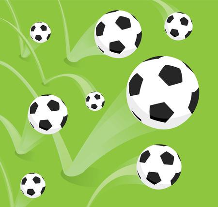 futbol soccer: Cartoon illustration of a group of soccer bouncing balls
