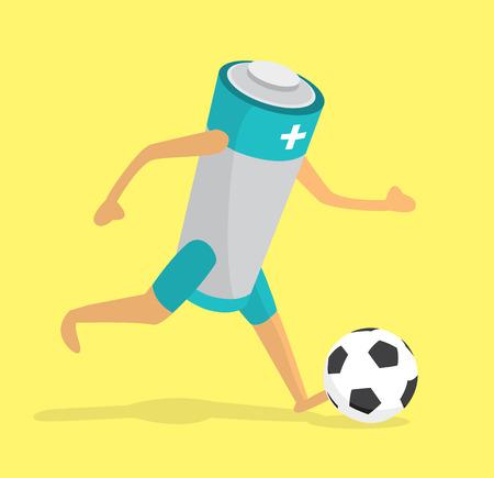 futbol soccer: Cartoon illustration of green battery kicking a soccer ball