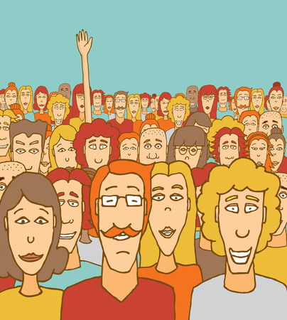 Cartoon illustration of a man raising his hand among other people