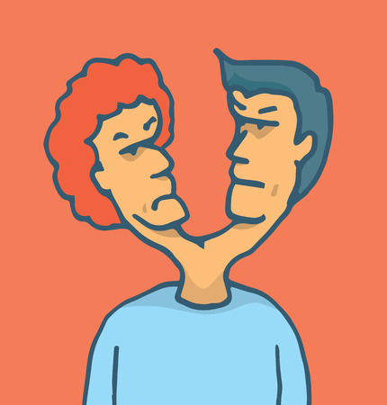 double headed: Cartoon illustration of a man with two heads or double personality facing a conflict