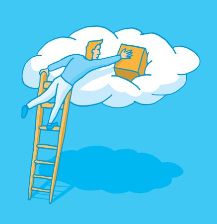 uploading: Illustrazione del fumetto di un uomo caricamento dati dal cloud computing Vettoriali