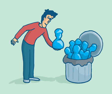 acquaintance: Cartoon illustration of a man cleaning up his list of social network contacts or throwing them to a bin Illustration