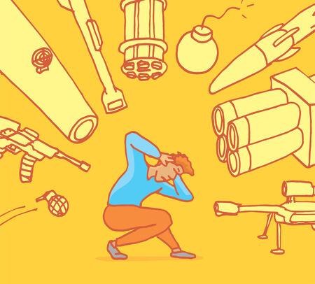 agachado: Ilustración de dibujos animados de un hombre estresado ponerse a cubierto de las armas