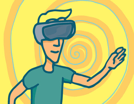 Cartoon illustration of a man in a virtual reality session with goggles headset