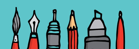 Cartoon illustration of five different writing tips
